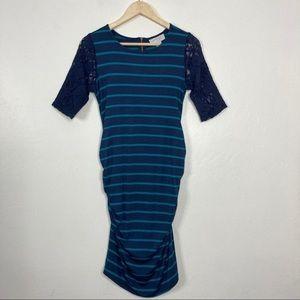 Jessica Simpson Maternity Striped Lace Dress Small